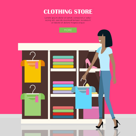 clothing shop: Clothing store illustration. Woman make her purchases in clothing shop. Shelves with clothes in shop. People shopping, marketing people, customer in mall, retail store illustration. Website template.