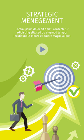 Strategic management concept flat style vector. Businessman with briefcase, arrow in target, chess figures, gears illustrations. Success planning and expected development. Wealth and savings growing.
