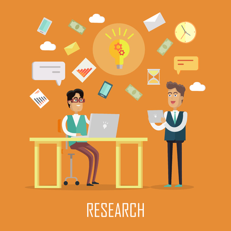 Teamwork research concept. Two men with devices for communication on yellow background. Concepts for business, strategic management, finance, people teamwork, SEO technology. Flat vector illustration