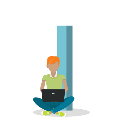 letter alphabet pictures: I letter and boy sitting with laptop isolated. Social network. Alphabet with cartoon pictures of people using modern computer technologies for communication. Flat design. ABC vector