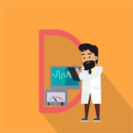 lab test: Science alphabet. Letter - D. Scientists working with measuring device. Simple colored letters and scientist character. Scientific research, science lab, science test, technology illustration. Illustration