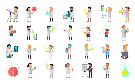 Scientist character collection. Scientists at work. Male and female scientists illustration. Chemistry, medicine, physics, biology infographic in flat style. Science and technology development