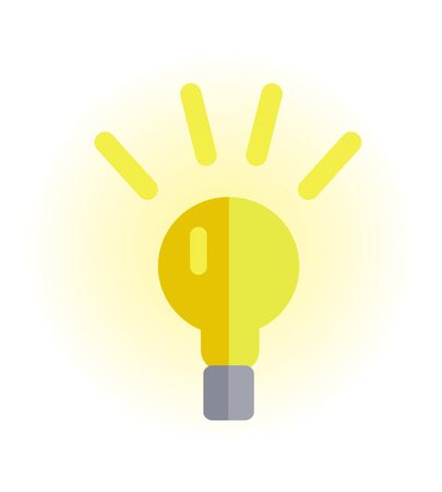 illuminating: Electric light bulb vector in flat style. New idea and brainstorming. Illustration for intellectual concept, illuminating stores ad, application icons, logo design. Isolated on white background