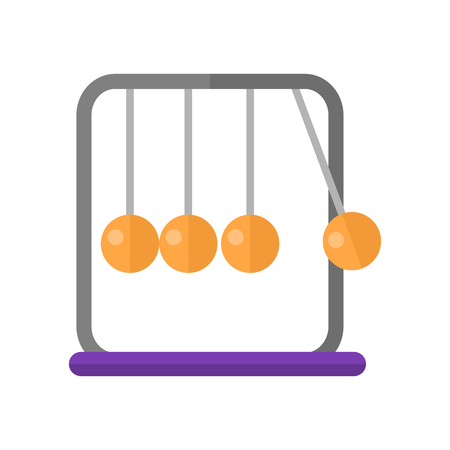 Newtons cradle vector in flat style. Devise for demonstration conservation of momentum and energy. Executive ball clicker. Illustration for scientific and educational concepts. Isolated on white Illustration