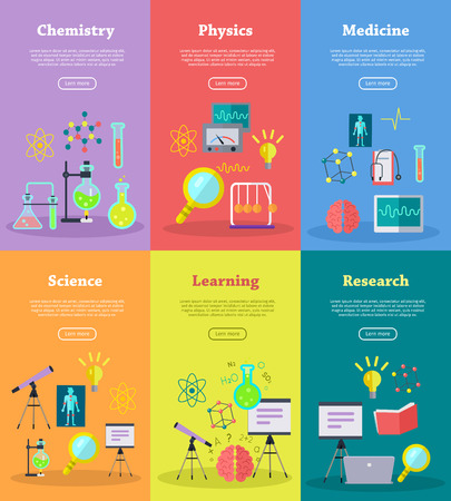 Science Web Banners Set. Medicine, Science, Research, Learning ...