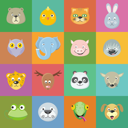 leopard gecko: Collection of cute animal faces. Animal head icon set. Cartoon masks for masquerade, holiday, festival, halloween. Icons sticker of forest characters. Isolated object in flat design. Vector Illustration