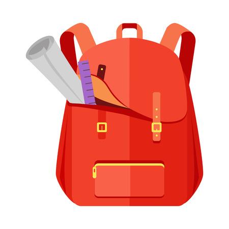 Ikona tornister plecak Rred w stylu płaski. Plecak turystyczny. Żartuje plecaka z notatnikiem, władcą, edukacją i nauką szkoła, plecak, miastowa plecaka wektoru ilustracja na białym tle