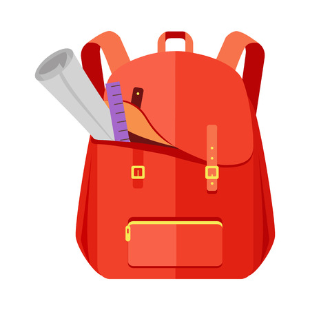 Rred backpack schoolbag icon in flat style. Hiking backpack. Kids backpack with notebook and ruler, education and study school, rucksack, urban backpack vector illustration on white background Illustration