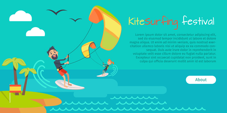 kiteboarding: Kite surfing festival. Kitesurfing is style of kiteboarding specific to wave riding, surface water sport combining wakeboarding, windsurfing, surfing, paragliding, skateboarding and gymnastics in one.