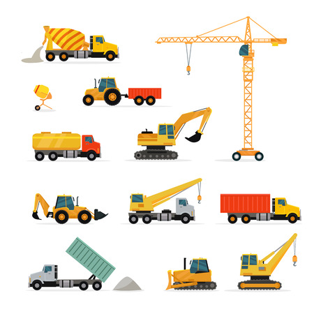 heavy set: Set of heavy construction machines. Flat design vector. Collection of cargo trucks, tractors, cranes, concrete mixers, excavator, loader. For construction theme illustrating, building companies ad