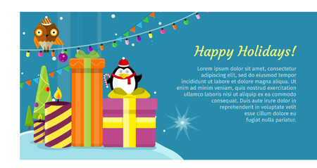 happy web: Happy holidays web banner. Merry Christmas and Happy New Year poster with owl on garland, snow, snowflakes, presents, gift boxes and xmas tree, penguin. Add congratulation text. Greeting card. Vector Illustration