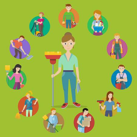 Servicio de limpieza vector de concepto. Diseño plano. Vector en estilo plano. Colección de caracteres personas con herramientas para la limpieza de la casa. Ilustración para las empresas y los servicios de limpieza de publicidad