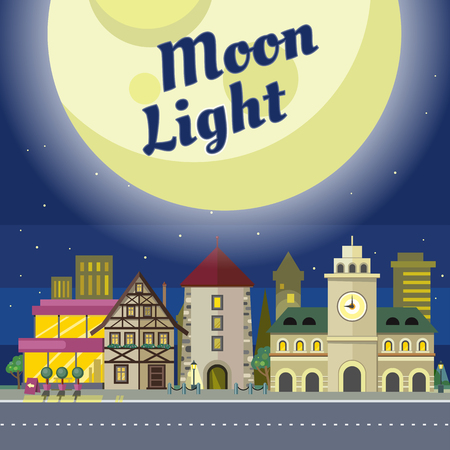 moon  metropolis: Moon light. Urban city illustration at night time. Building with clock. Architecture in unusual fashionable design. Modern town with extraordinary buildings. Metropolis panorama. Vector in flat style