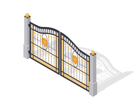 Iron gates opens and closes from the middle isolated on white. Fence with columns. Isometric projection. Metal gates, wrought iron, lattice and golden gates and fences for yard. Flat style. Vector Illustration