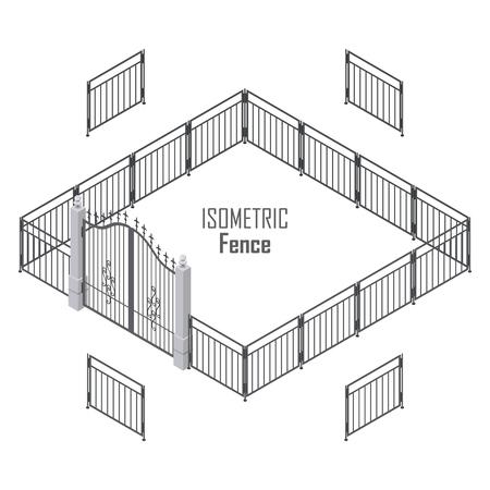 Isometrischen Zaun in dunklen Farben getrennt auf Weiß. Eisentor öffnet und schließt von der Mitte. Zaun mit Säulen. Metalltore, Schmiedeeisen, Gitter Tore und Zäune für Hof. Wohnung Stil. Vektor