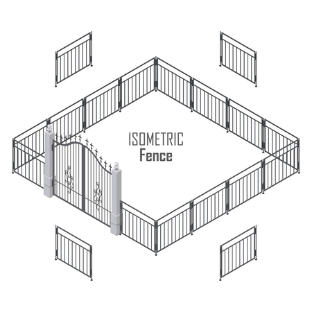 Isometric fence in dark colors isolated on white. Iron gate opens and closes from the middle. Fence with columns. Metal gates, wrought iron, lattice gates and fences for yard. Flat style. Vector