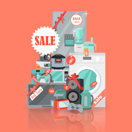 Big super web sale banner. Household appliances in flat style. For electronics stores advertising. Purchase of equipment in Internet. Devices with red discount tags isolated. Black friday. Vector