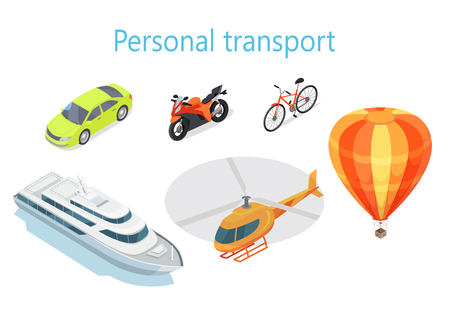 planos electricos: Personal transport infographic. Boat. Car. Motorcycle. Bicycle. Helicopter. Balloon. Statistics of transport usage. Shown amount of people use each type of transportation. Transport system vector