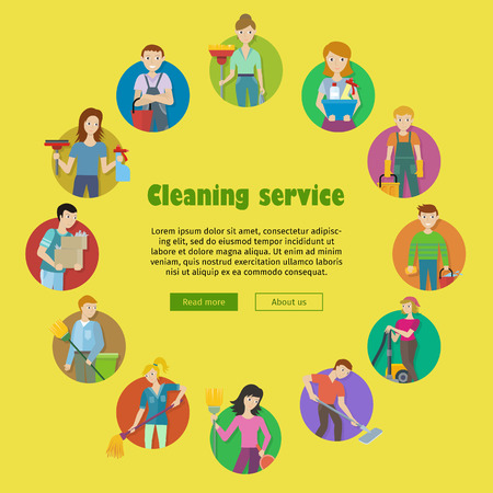 home equipment: Cleaning service round icon set. Man and woman with cleaning equipment and detergent. House cleaning service, professional office cleaning, home cleaning illustration. Website template.