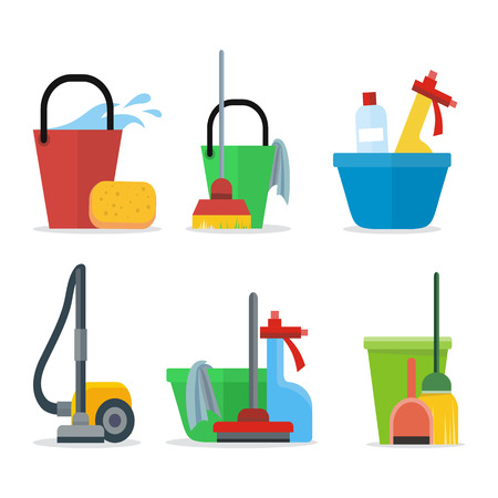 vacuum cleaner worker: Set of Cleaning Equipment bucket, mop, sponge, rag, detergent, vacuum cleaner, shovel. House cleaning service, professional office cleaning, domestic cleaning service illustration Icon set in flat