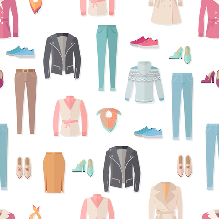 leather skirt: Clothing vector seamless pattern. Flat style illustration. Jacket, sweater, coat, shoes, sneakers, pants, scarf illustrations on white background. For goods wrapping paper, stores ad prints design