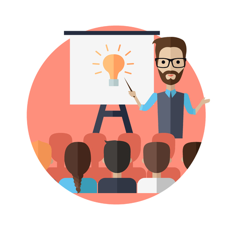 couching: Successful young man with glasses making a presentation near whiteboard with infographics before an audience. Coaching and shows business charts and graphs. Business seminar.