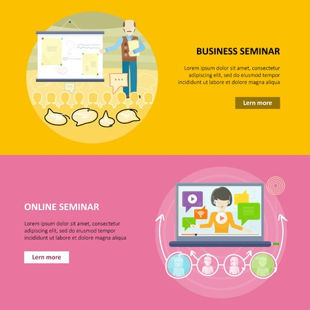 briefing: Set of business education vector web banners in flat design. Career progression. Business and online seminar horizontal concepts for educational companies, career courses web pages design. Illustration