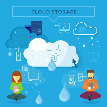 cloud computer: Cloud storage web banner in flat style. Information sharing and saving. Servers, users, drops, computer networks,media icons. Illustration for video presentation or corporate ad animation clip Illustration