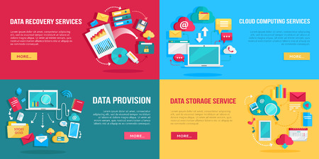 provision: Data services set. Data provision, cloud computing services, data recovery service, data storage service banners. Networking communication and data icons on color background. Illustration in flat. Illustration