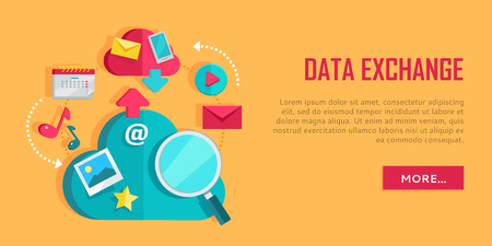 Data Exchange Banner. Networking Communication And Data Icons On Yellow  Background. Data Protection,