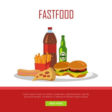 unhealthy diet: Fast food banner isolated on white background. Unhealthy food. Consumption of high-calorie nourishment junk food. Part of series of promotion healthy diet and good fit. Vector illustration