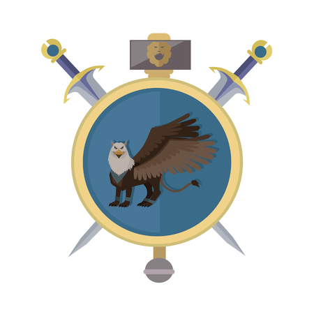 menacing: Griffin with axes, isolated avatar icon. Legendary creature with the body, tail, and back legs of a lion, head and wings of an eagle. Game object in flat design isolated on white background. Illustration