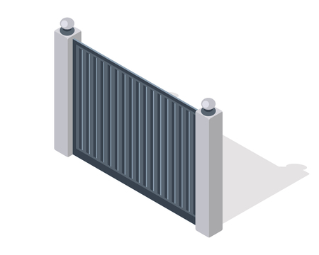 gates: Iron fence with brick columns isolated on white. Gate with wicket in flat style design. Isometric projection. Metal gates, wrought iron, lattice gates and fences for yard. Vector illustration