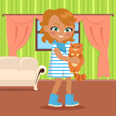 small girl: Girl holds small cat in her hands. Little girl has leisure time. School girl during break. Young lady at home, playing with toy kitten. Favourite toy. Daily activity. Vector