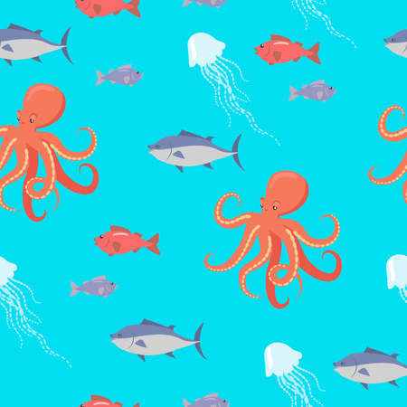 life style: Sea life seamless pattern. Shark, fish, octopus, jellyfish endless texture. Wallpaper design with sea cartoon creatures in flat style design. Sea life animals on blue background. Vector illustration