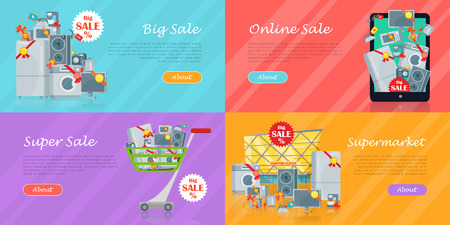 Set of banners with household appliances. Kitchen devices in mobile phone, in cart, supermarket isolated. Big sale concept. E-commerce. Online sale. Electronics. Black friday. Vector in flat style Illustration