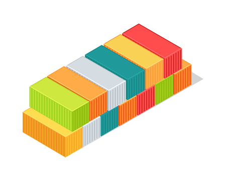 Set of cargo intermodal containers. Isometric 3d container delivery. Cargo container, freight industry, export, industrial container, storage goods, delivery container, import heavy container. Vector
