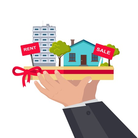 housing estate: Real estate concept vector. Flat design. Hands holding salver with houses, trees, rent and sale signs on it. Illustration for real estate company advertising, housing concepts. On white background.