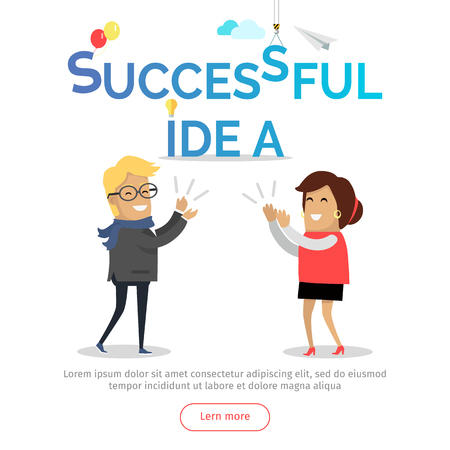 solve problem: Successful idea web banner. Business solution. Man and woman clapping hands. Business team success in work. Cartoon characters strategic, solve problem with partnership challenge. Vector Illustration