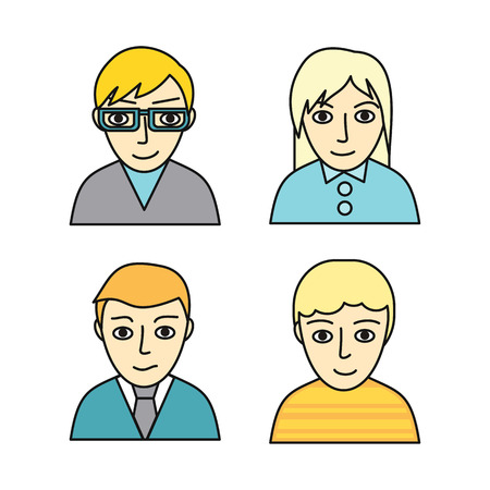 Set of people characters avatar vectors in flat design. Female and male portrait icons. Illustrations for identity in Internet, concepts, app pictograms, infographic. Isolated on white background. Çizim
