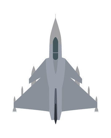 Military airplane isolated on white. Aircraft plane vector cartoon illustration. Military plane flying on speed. Flying transport unit. War means of transportation in the air. Army aeroplane. Ilustrace