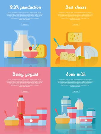 milk production: Milk production, best cheese, berry yogurt, sour milk conceptual banners set. Collection of traditional dairy products pictogram for farm, grocery store, cafe, diet and food delivery services Illustration