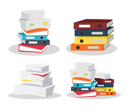 Set of papers tacks. Many business documents with bookmarks. Colorful binders. Paper work, office routine, bureaucracy concept. Flat design. Illustration for data, e-mail, management, services