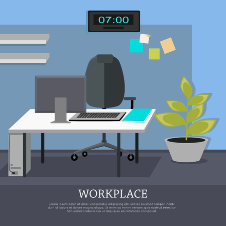 computer banner: Workplace conceptual vector web banner. Flat style. Office room with armchair, computer monitor on the desk, rack with documents. Comfortable place for work modern business apartments design
