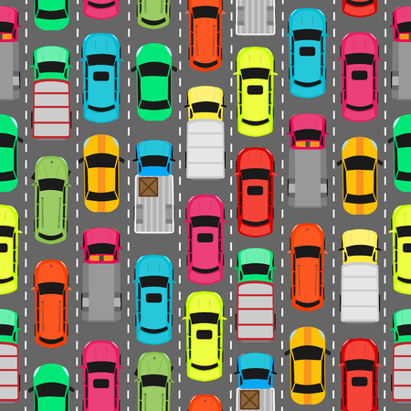 car park: Seamless pattern with cars on parking. Endless texture with different kinds of automobiles. Wallpaper design with transport vehicles. Parking lot or car park. Large number of cars in crowded parking. Vector
