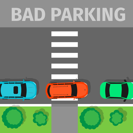 car park: Bad parking. Car parked in inappropriate way on pedestrian crossing. Driver annoying everyone. Parking zone conceptual web banner. Rude disrespectful impolite driver in parking lot or car park. Vector