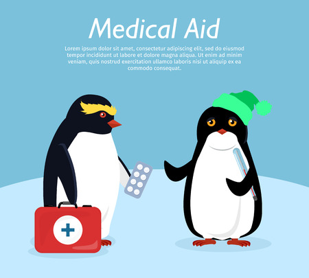 Medical aid. Penguin gives quick medical aid to his friend. Penguin animals with winter landscape on background. Funny polar winter bird banner poster greeting card. Treatment. Vector illustration