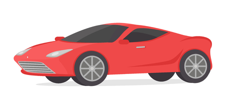 automobile door: Red coupe car isolated on white. Modern detailed car in flat style design. Sport luxury automobile illustration. Sportscar two seater, two door auto designed for spirited performance. Vector