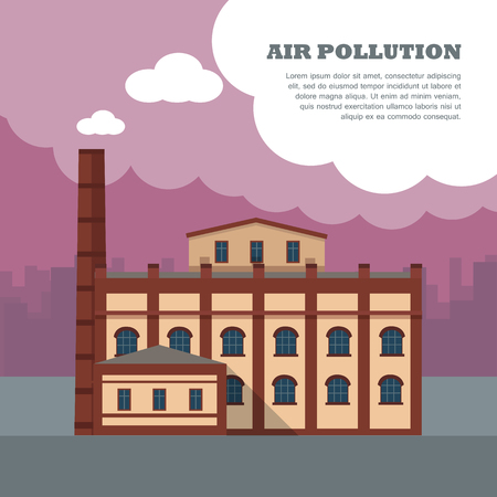 kwaśne deszcze: Air pollution banner. Factory with smog pipes isolated on the background of urban city silhouette. Industrial concept. Cause of health problems, acid rains and greenhouse effect. Vector illustration Ilustracja