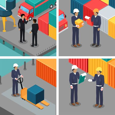 worker working: Set of dock workers at warehouse. Cargo worker and foreman. Supervisor check container data. Inspector control working process in seaport. Coworkers near cargo containers. Businessmen talking. Vector